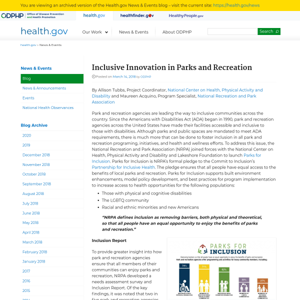 Inclusive Innovation in Parks and Recreation - News & Media - Health.gov