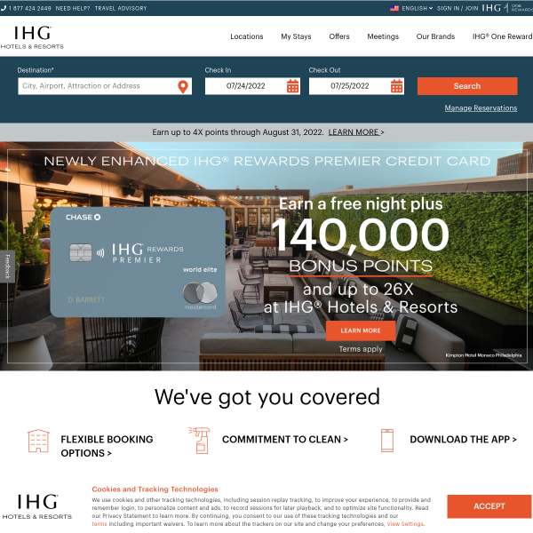 IHG Hotels & Resorts - Book hotels online at over 5,500 hotels screenshot