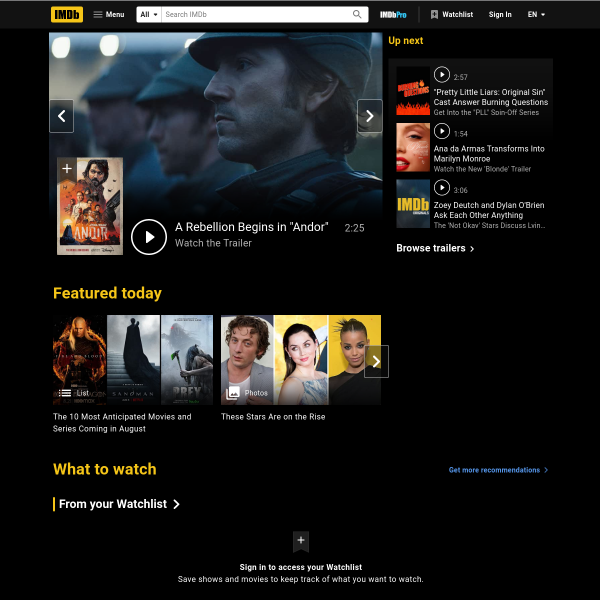 Ratings and Reviews for New Movies and TV Shows - IMDb screenshot