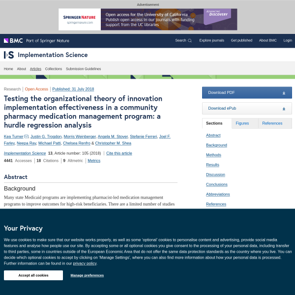 Testing the organizational theory of innovation implementation effectiveness in a community pharmacy medication management program: a hurdle regression analysis