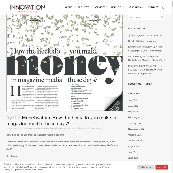 Monetisation: How the heck do you make in magazine media these days? - Innovation
