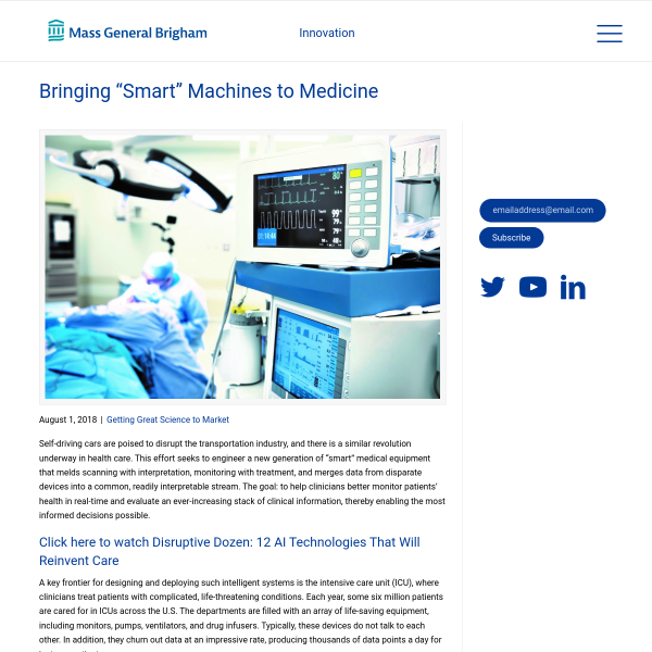 "Bringing ""Smart"" Machines to Medicine - Partners Innovation Blog"