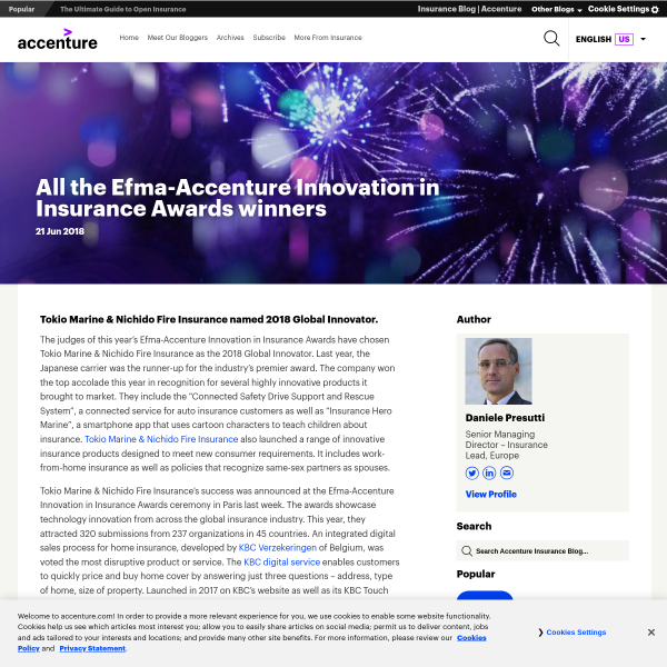 All the Efma-Accenture Innovation in Insurance Awards winners - Accenture Insurance Blog