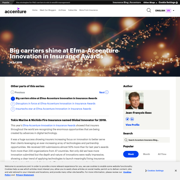 Big carriers shine at Efma-Accenture Innovation in Insurance Awards - Accenture Insurance Blog