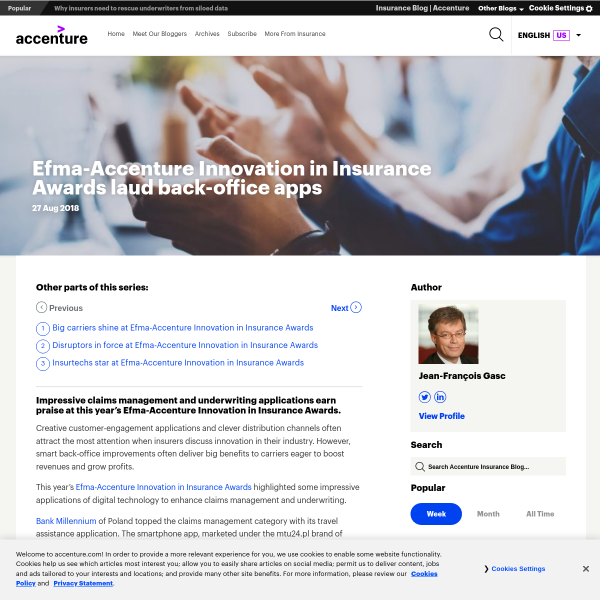Efma-Accenture Innovation in Insurance Awards laud back-office apps - Accenture Insurance Blog