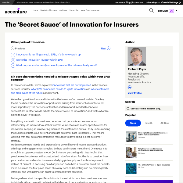 The 'Secret Sauce' of Innovation for Insurers - Accenture Insurance Blog