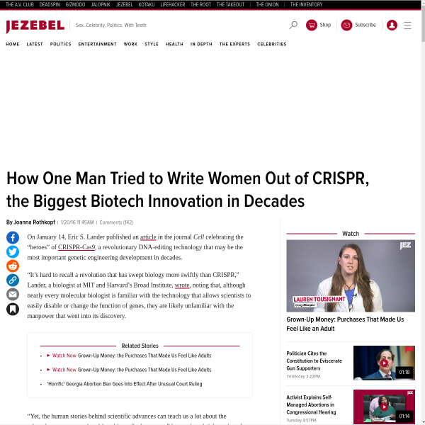How One Man Tried to Write Women Out of CRISPR, the Biggest Biotech Innovation in Decades