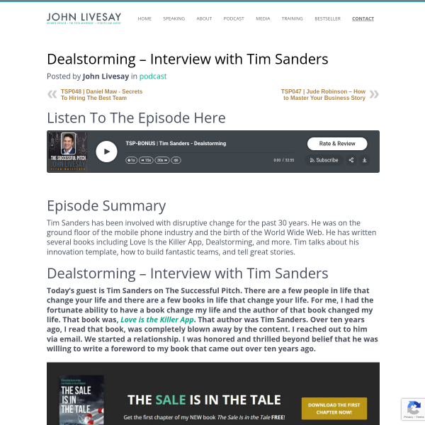 Tim Sanders – Dealstorming, Disruptive Change and Innovation