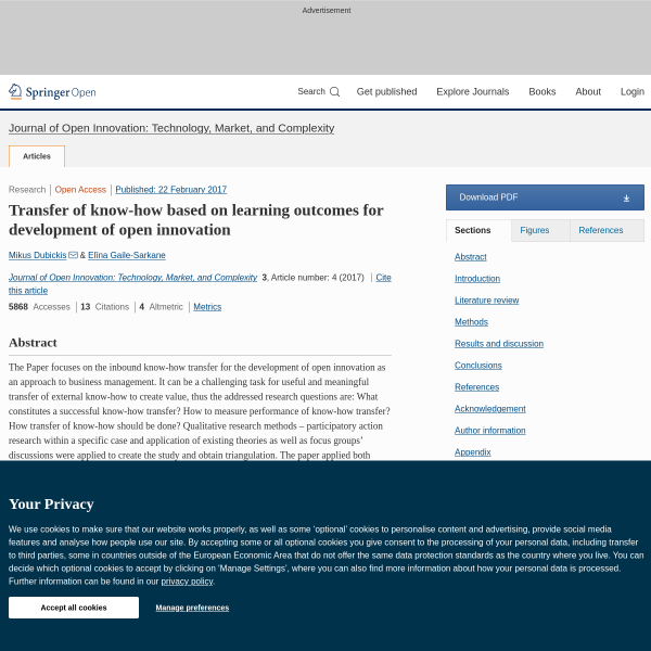Transfer of know-how based on learning outcomes for development of open innovation