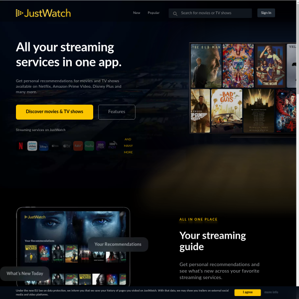 JustWatch - Streaming Search Engine for Movies and TV Shows screenshot