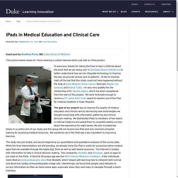 iPads in Medical Education and Clinical Care - Duke Learning Innovation