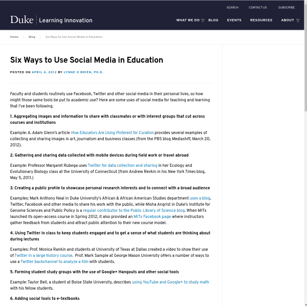 Six Ways to Use Social Media in Education - Duke Learning Innovation
