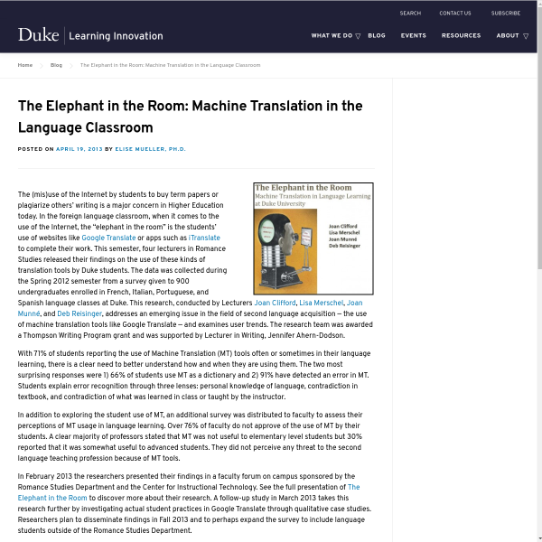 The Elephant in the Room: Machine Translation in the Language Classroom - Duke Learning Innovation