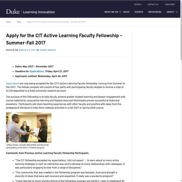 Apply for the CIT Active Learning Faculty Fellowship – Summer-Fall 2017 - Duke Learning Innovation