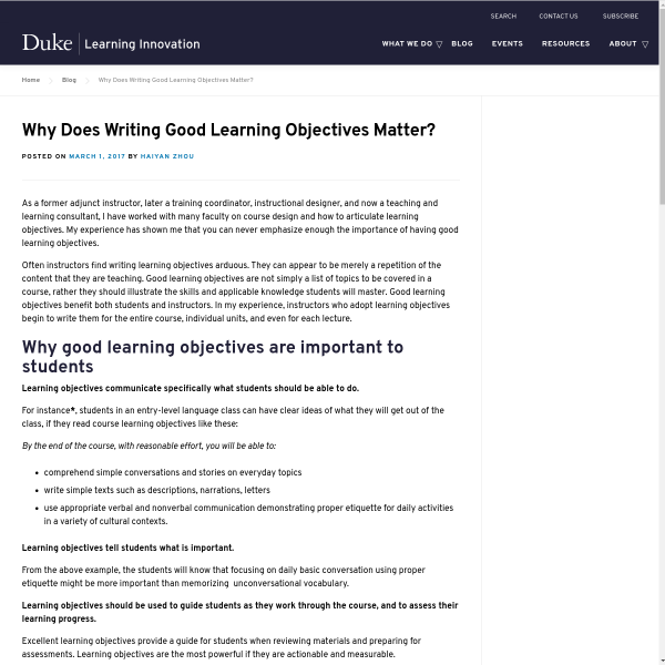 Why Does Writing Good Learning Objectives Matter? - Duke Learning Innovation
