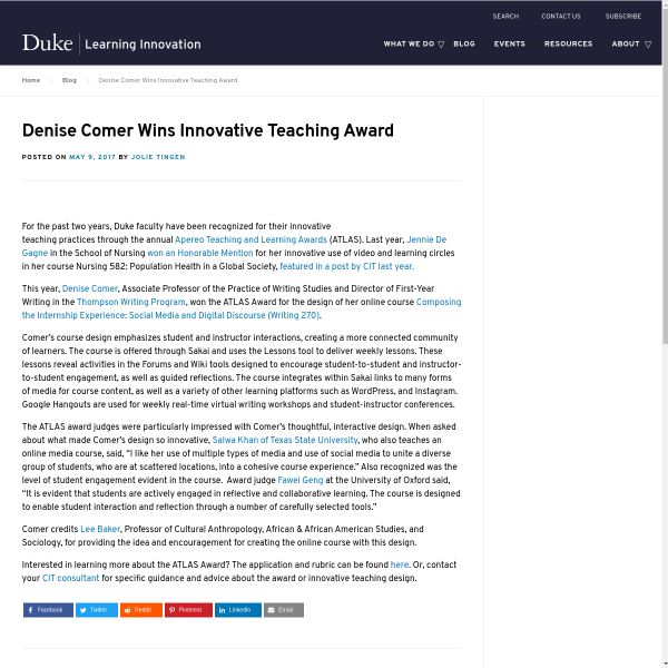 Denise Comer Wins Innovative Teaching Award - Duke Learning Innovation