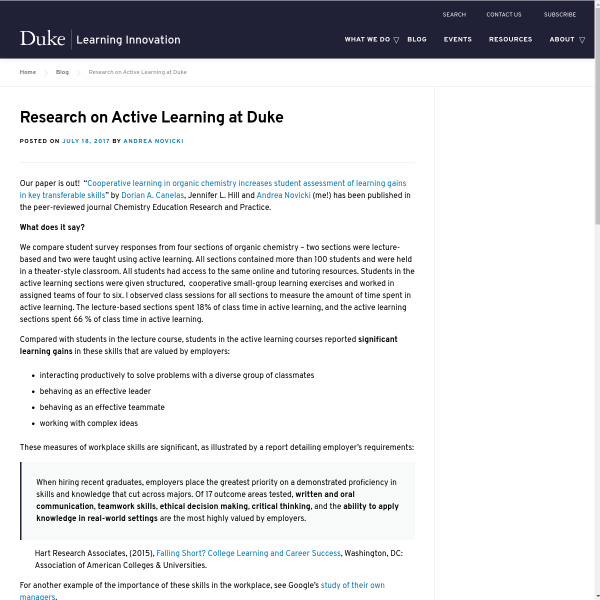 Research on Active Learning at Duke - Duke Learning Innovation