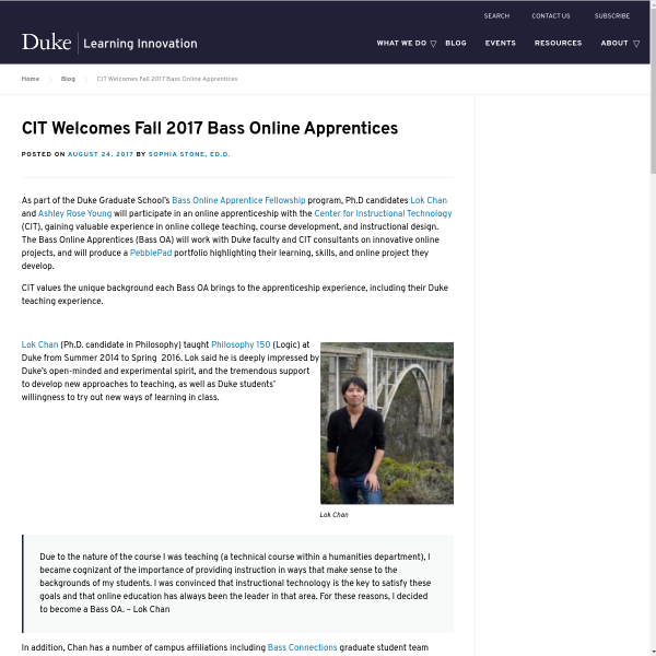 CIT Welcomes Fall 2017 Bass Online Apprentices - Duke Learning Innovation