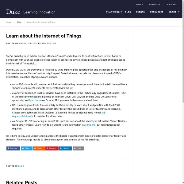 Learn about the Internet of Things - Duke Learning Innovation