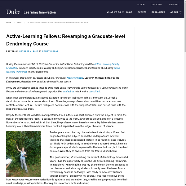 Active-Learning Fellows: Revamping a Graduate-level Dendrology Course - Duke Learning Innovation