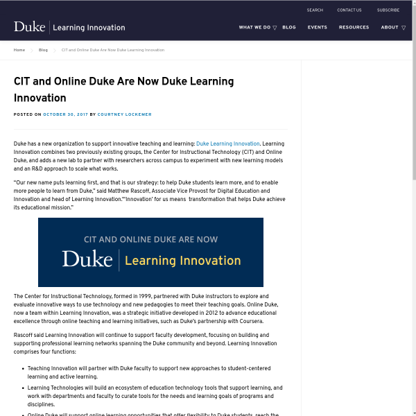 CIT and Online Duke Are Now Duke Learning Innovation