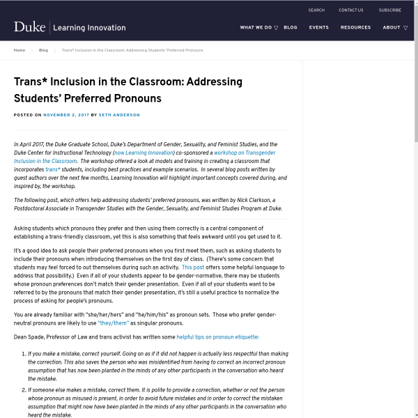Trans* Inclusion in the Classroom: Addressing Students' Preferred Pronouns - Duke Learning Innovation