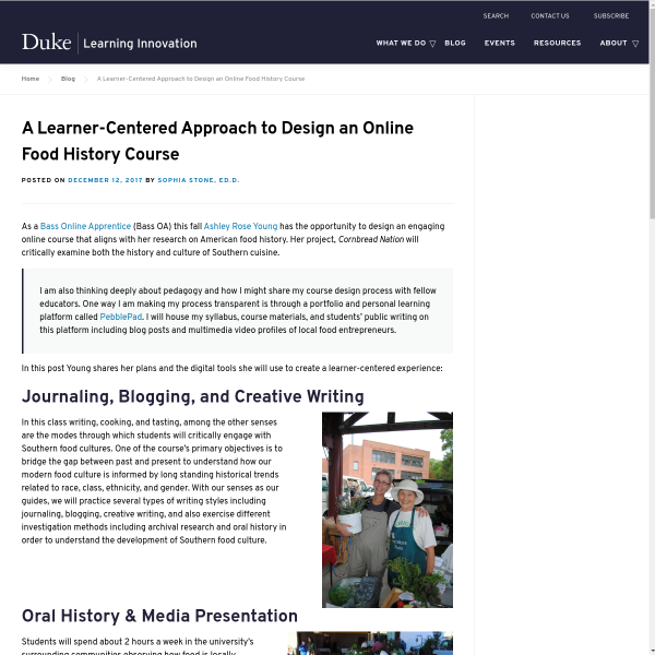 A Learner-Centered Approach to Design an Online Food History Course - Duke Learning Innovation