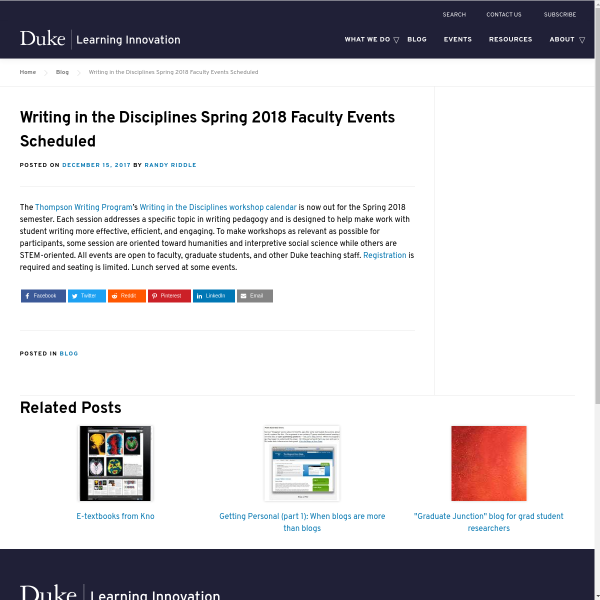 Writing in the Disciplines Spring 2018 Faculty Events Scheduled - Duke Learning Innovation