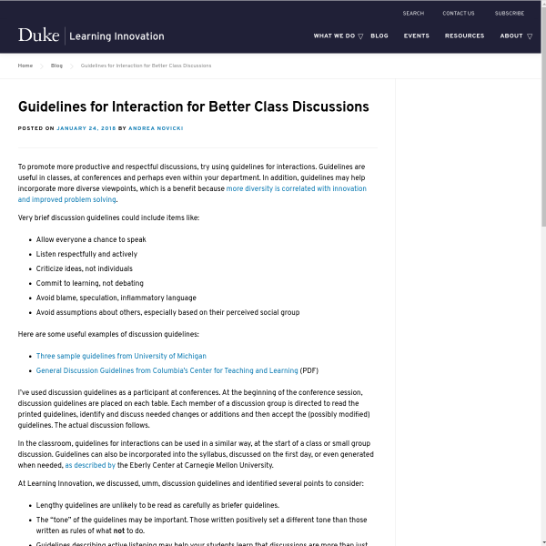 Guidelines for interaction for better class discussions - Duke Learning Innovation