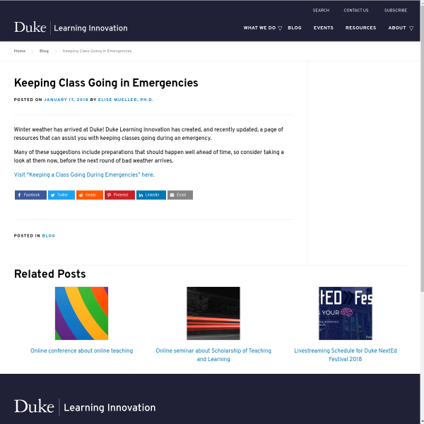 Keeping Class Going in Emergencies - Duke Learning Innovation