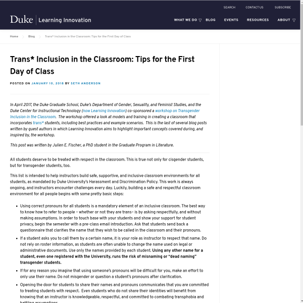 Trans* Inclusion in the Classroom: Tips for the First Day of Class - Duke Learning Innovation