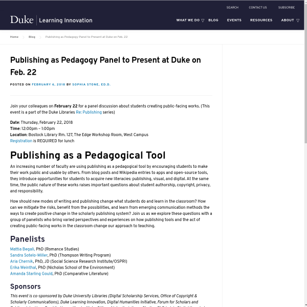 Publishing as Pedagogy Panel to Present at Duke on Feb. 22 - Duke Learning Innovation
