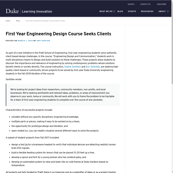First Year Engineering Design Course Seeks Clients - Duke Learning Innovation
