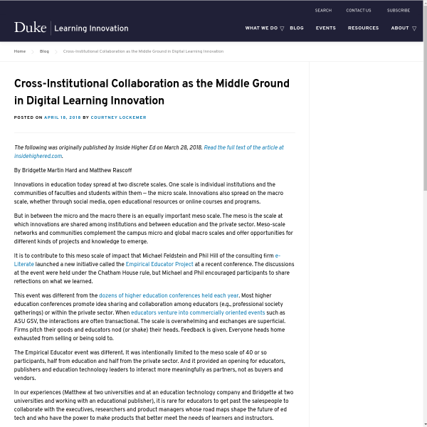Cross-Institutional Collaboration as the Middle Ground in Digital Learning Innovation - Duke Learning Innovation