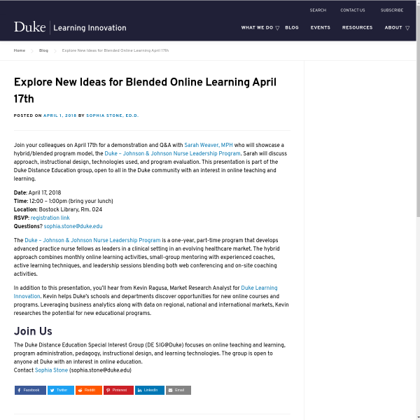Explore New Ideas for Blended Online Learning April 17th - Duke Learning Innovation