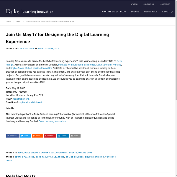Join Us May 17 for Designing the Digital Learning Experience - Duke Learning Innovation