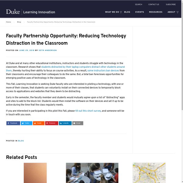 Faculty Partnership Opportunity: Reducing Technology Distraction in the Classroom - Duke Learning Innovation