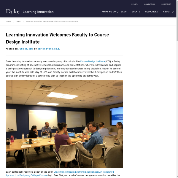 Learning Innovation Welcomes Faculty to Course Design Institute
