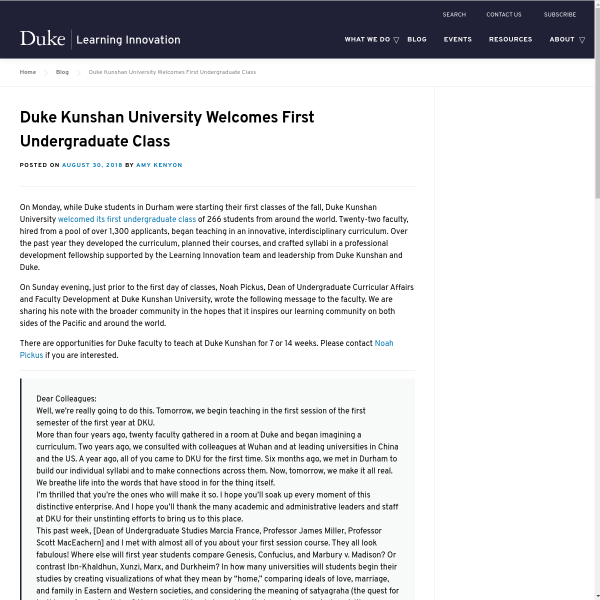 Duke Kunshan University welcomes first undergraduate class - Duke Learning Innovation