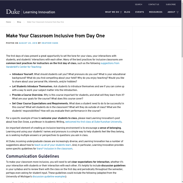 Make Your Classroom Inclusive from Day One - Duke Learning Innovation