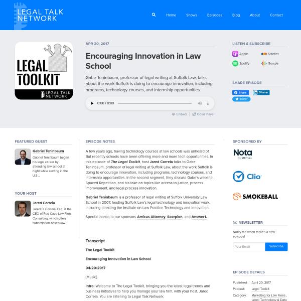 Encouraging Innovation in Law School - Legal Talk Network