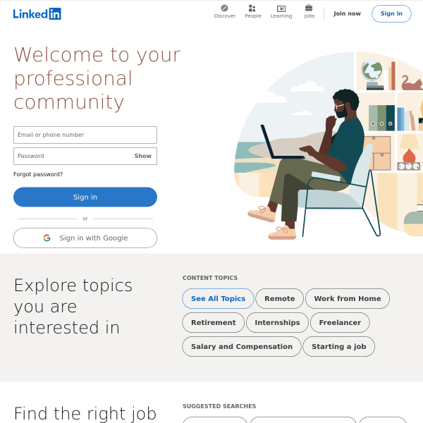 LinkedIn: Log In or Sign Up screenshot