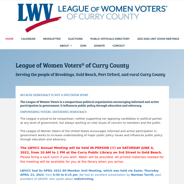 League of Women Voters of Curry County