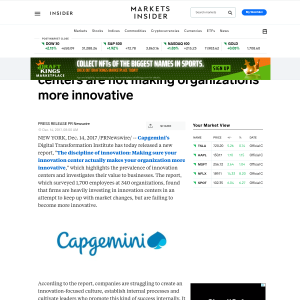 Despite mass investment, innovation centers are not making organizations more innovative - Markets Insider