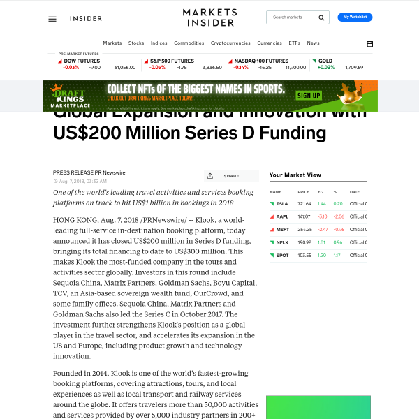 Klook Gears Up for Next Round of Global Expansion and Innovation with US$200 Million Series D Funding - Markets Insider