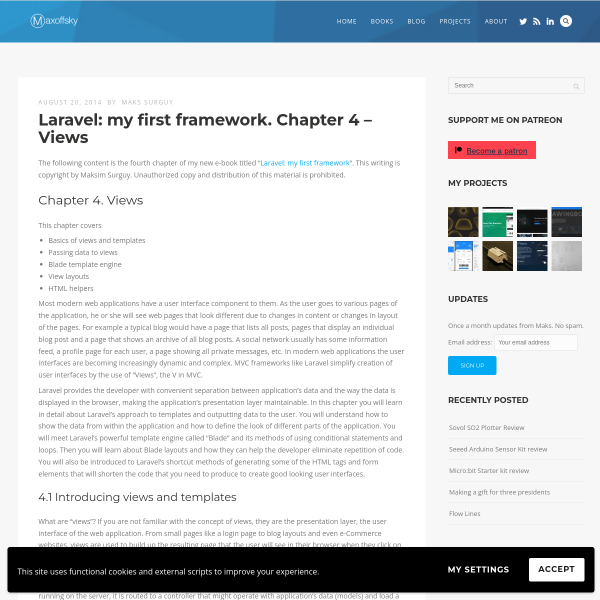 Laravel: my first framework. Chapter 4 – Views - Maks Surguy's blog on Innovation, IoT and Laravel