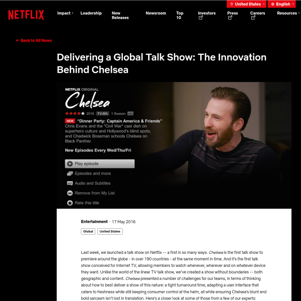 Delivering a Global Talk Show: The Innovation Behind Chelsea
