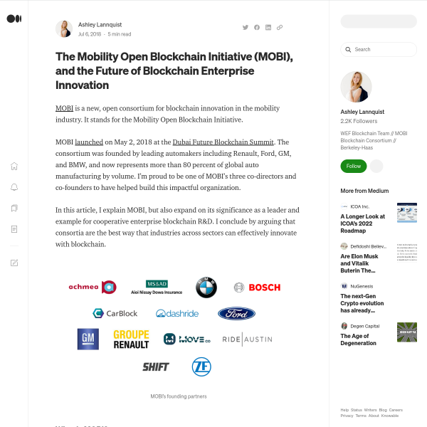 The Mobility Open Blockchain Initiative (MOBI), and the Future of Blockchain Enterprise Innovation