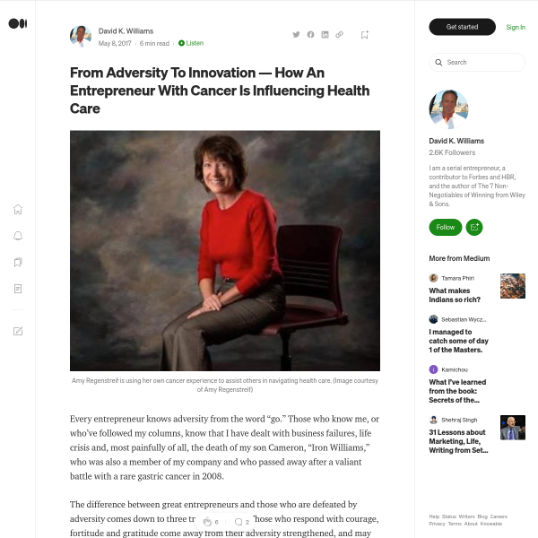 From Adversity To Innovation — How An Entrepreneur With Cancer Is Influencing Health Care
