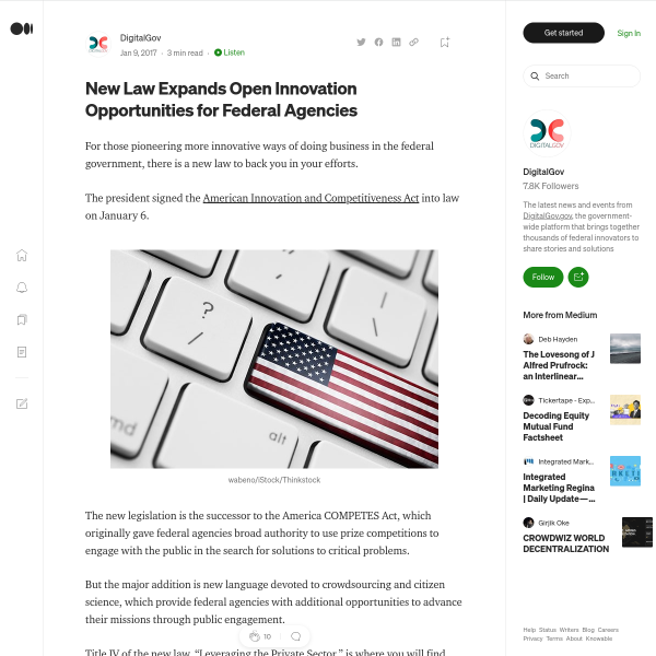 New Law Expands Open Innovation Opportunities for Federal Agencies